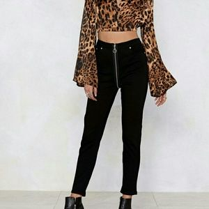 Nasty Gal Pull Zip Skinny Jeans Black Size 4